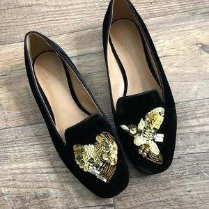 Tory Burch gold sequins embroidered valet loafers
